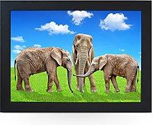 Portable Lap Desk Tray (Elephants On Grass)