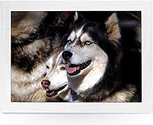 Portable Lap Desk Tray (Husky Dogs) Handmade