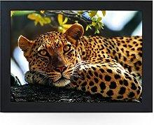Portable Lap Desk Tray (Leopard in Tree) Handmade