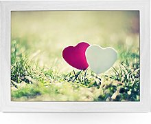 Portable Lap Desk Tray (Pink & White Hearts in