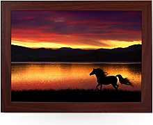 Portable Lap Desk Tray (Running Horse at Sunset)