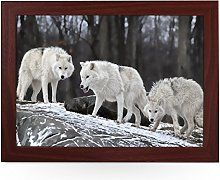 Portable Lap Desk Tray (Three White Wolves)