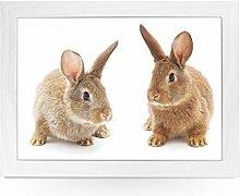Portable Lap Desk Tray (Two Cute Bunnies) Handmade