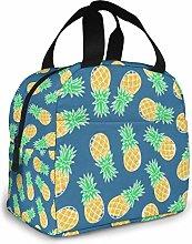 Portable Lunch Tote Bag Orange Ripe Pineapples