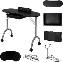 Portable Manicure Table with Wheels, Folding Nail