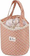 Portable Polka Dot Lunch Bag Drawstring Thermal