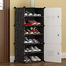 Portable Shoe Storage Tower, Black and White,