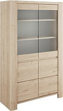 Portland 2 Door Display Cabinet - Oak