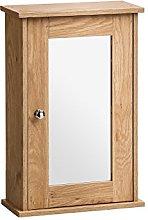 Portland Wall Cabinet Oak Veneer With Mirror Door
