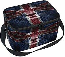 Portrait Lion Dark Leader Lunch Boxes Bag, UK Flag