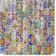 Portuguese Tile Bohemian Style Fabric Shower
