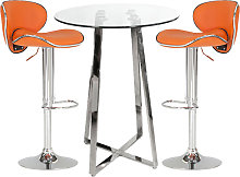 Poseur Glass Bar Table With 2 Orange Leather