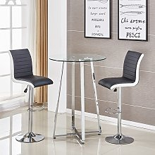 Poseur Glass Bar Table With 2 Ritz Black And White