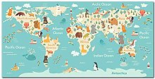 Poster Animal World Map Canvas Painting Wall Art