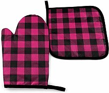 Pot Holders and Oven Mitts,Pink Black Plaid