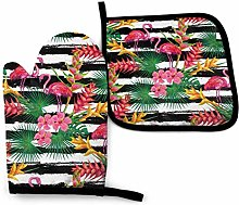 Pot Holders and Oven Mitts,Pink Flamingo Flower