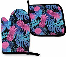Pot Holders and Oven Mitts,Pink Pineapple Blue