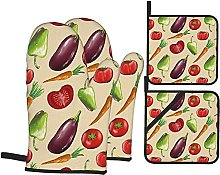 Pot Holders and Oven Mitts Sets Tomato Carrot