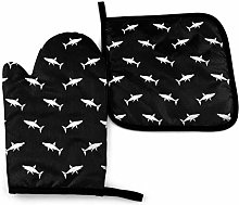 Pot Holders and Oven Mitts,White Black Sharks