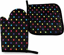 Potholders and Oven Mitts,Colorful Polka Dot Black