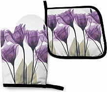 Potholders and Oven Mitts,Purple Flowers Cooking