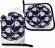 Potholders and Oven Mitts,Retro Floral Purple