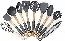 POUAOK Silicone Kitchenware 10pcs Silicone Wooden