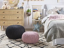 Pouf Ottoman Pink Knitted Cotton EPS Beads Filling