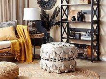 Pouffe Beige with Black Cotton Knit Decorative