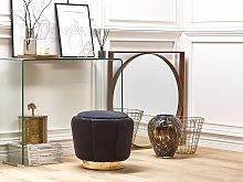 Pouffe Black Velvet Upholstery Golden Base ø 43 x