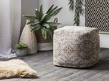 Pouffe Brown Cotton Pattern Decorative Boho Rustic