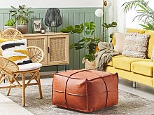 Pouffe Brown Faux Leather 60 x 60 cm Square PU