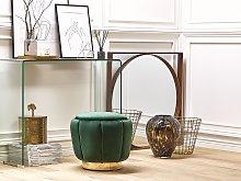 Pouffe Green Velvet Upholstery Golden Base ø 43 x
