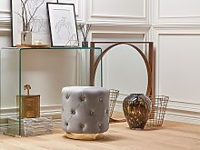 Pouffe Grey Velvet Upholstery Gold Base 40 x 41 cm