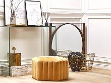 Pouffe Yellow Velvet 29 x 53 x 48 cm Upholstered