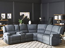 Power Recliner Sofa Grey Fabric Corner Sofa 5