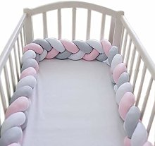 Powstro Baby Crib Bumper Braided Bed Fence Striped