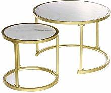 PQXOER Coffee Tables 2Pcs Imitation Marble Nested