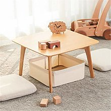 PQXOER Coffee Tables Multi-function Bamboo Wooden