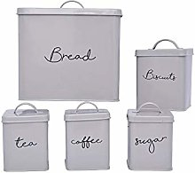 Practical and Stylish Grey Canister Set - 5-Piece
