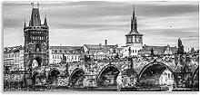 Prague Castle Art Charles Bridge Black and White