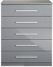 Prague Gloss 5 Drawer Chest