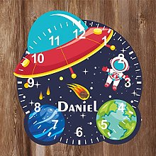 Precision Design Space Shaped Kids Clock -