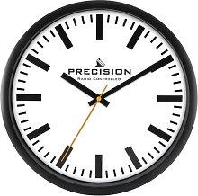Precision Radio Controlled Wall Clock, Black/White