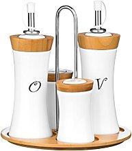 Premier Housewares 4-Piece Bamboo/Ceramic Concave
