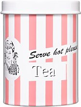 Premier Housewares Candy Stripe Tea Canister - Pink