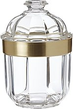 Premier Housewares Clear Canister, Acrylic, Gold,