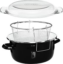 Premier Housewares Enamel Deep Fryer - Black.