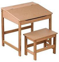 Premier Housewares Kids Desk And Stool Set- Natural