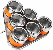 Premier Housewares Orange Magnetic Spice Jars